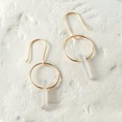 Gold and Genuine Quartz Drop Earrings