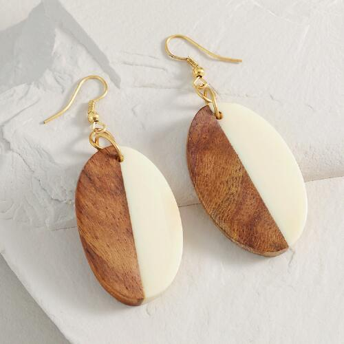 Wood and Resin Drop Earrings