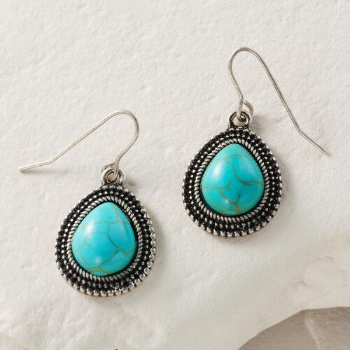 Silver and Turquoise Teardrop  Earrings