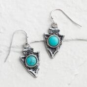 Silver Arrow Turquoise Drop Earrings