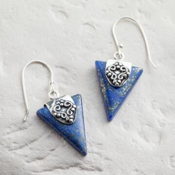 Silver Triangle Lapis Drop Earrings