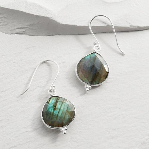 Silver LabraoriteTeardrop Earrings