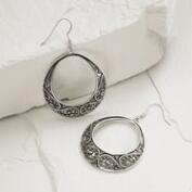 Silver Etched Hoop Drop Earrings