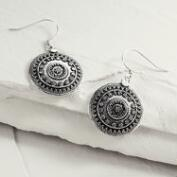Silver Tribal Disc Drop Earrings
