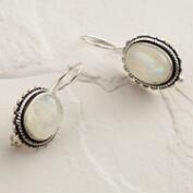 Oval Silver Moonstone Drop Earrings