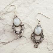 Silver Moonstone Scroll Drop Earrings