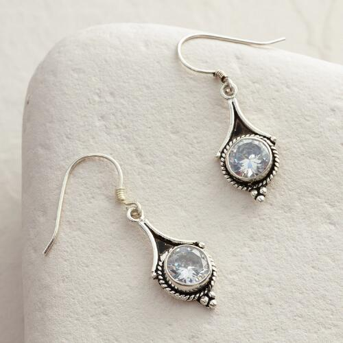 Silver and Cubic Zirconia Drop Earrings