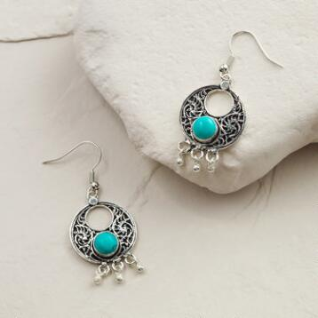 Silver and Turquoise Dangle Hoop Earrings