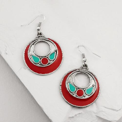 Red and Turquoise Drop Earrings