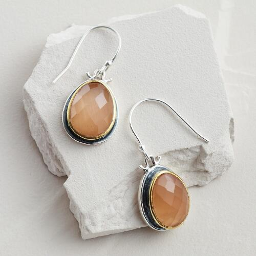 Silver and Faceted Peach Stone Drop Earrings