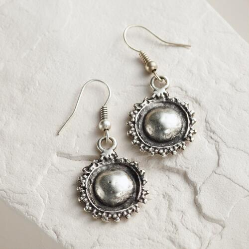 Small Silver Round Drop Earrings