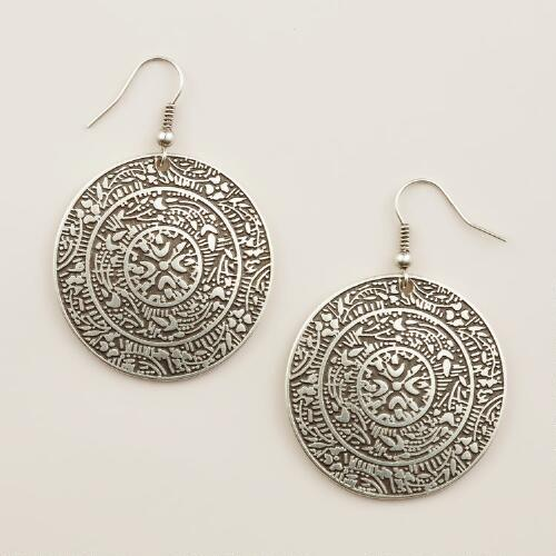 Silver Turkish Medallion Drop Earrings