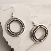 Silver Studded Drop Hoop Earrings