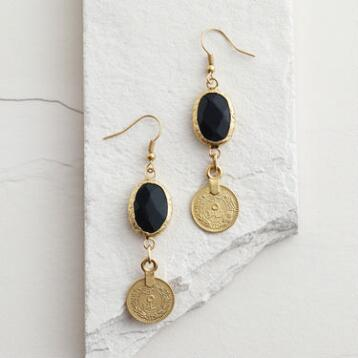 Gold Coin and Stone Drop Earrings