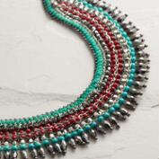 Gold Turquoise and Red Bead Collar Necklace