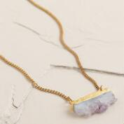 Gold Druzy Amethyst Bar Necklace
