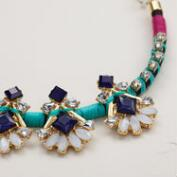 Gold, Jewel and Thread Statement Necklace