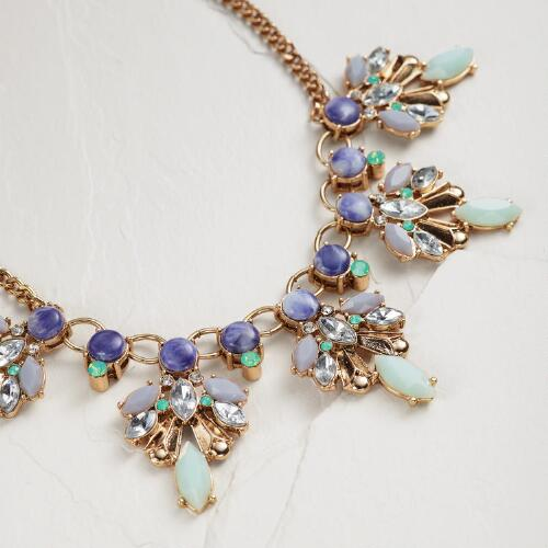 Blue and Mint Necklace with Rhinestones
