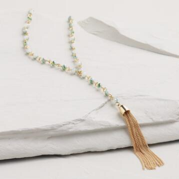 Gold Labradorite Tassel Lariat Necklace