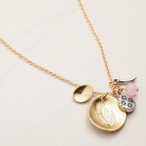 Gold Charms Pendant  Necklace