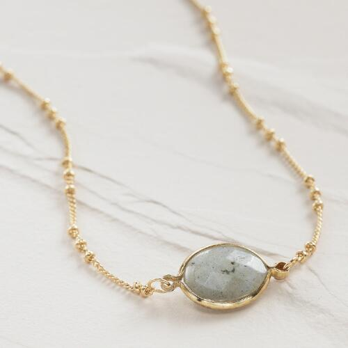 Short Gold Labradorite Pendant Necklace