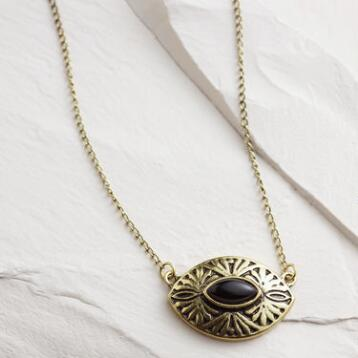 Short Gold and Black Pendant Necklace