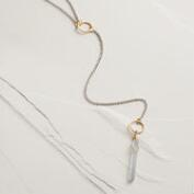 Silver Ring Denim Quartz Lariat Necklace