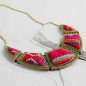 Fuchsia Tribal Fabric Statement Necklace