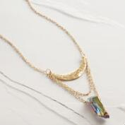 Gold Crescent Quartz Pendant Necklace