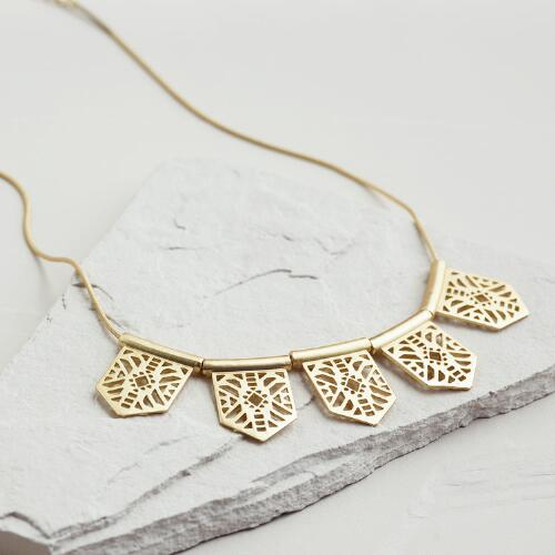 Gold Geometric Cutout Statement Necklace