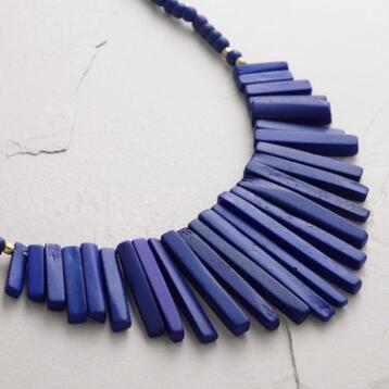 Bone and Cobalt Fringe Statement Necklace