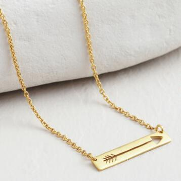 Gold Arrow Bar Necklace