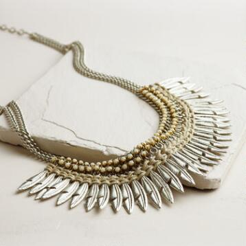 Silver Feathers Statement Necklace