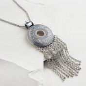 Long Silver Pendant Fringe Necklace