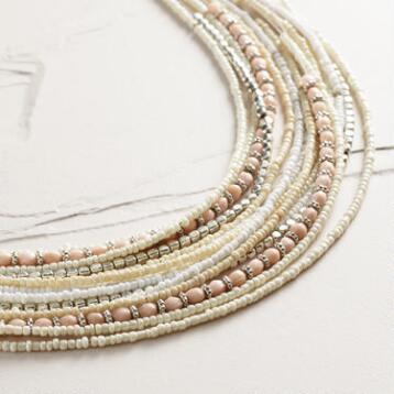 Ivory Multi-Strand Beaded Necklace