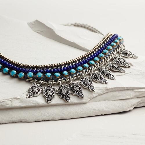 Silver Blue and Turquoise Statement Necklace