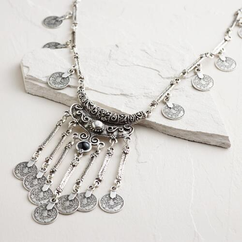 Long Silver Coin Pendant Statement Necklace