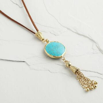 Turquoise Suede Tassel Necklace