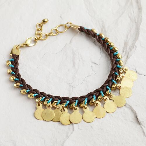 Brown and Turquoise Coin Friendship Bracelet