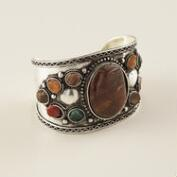 Silver and Multicolor Agate Stone Cuff Bracelet