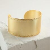 Brushed Gold Geometric Etched Cuff Bracelet
