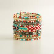 Coral and Turquoise Beaded Cuff Bracelet