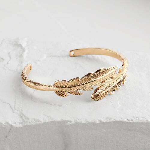 Gold Leaves Cuff Bracelet