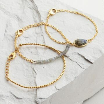 Gold Labradorite Bracelets, Set of 3