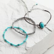 Silver and Turquoise Tribal Bracelets, Set of 3