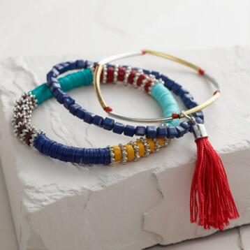Multicolored Sequins and Tassels Bracelets, Set of 3
