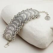 Large Silver Coin Statement Bracelet