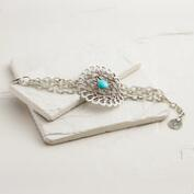 Silver and Turquoise Large Medallion Bracelet