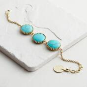 Gold Three Turquoise Stone Chain Bracelet