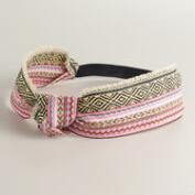 Embroidered Twist Knot Frayed Headband